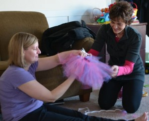Kim and Lindsey making a tutu
