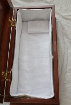 Casket Mattress, pillow, and sidewalls made by Gretta